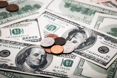 Portret van Benjamin Franklin van honderd dollarsbankbiljet Stock Foto's