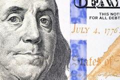 Portret van Benjamin Franklin van honderd dollarsrekening Royalty-vrije Stock Afbeeldingen