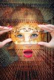 Portret van blauwe ogenvrouw met masker dubbele blootstelling stock afbeeldingen