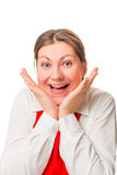 Portret van blij mooi meisje in rode schort Stock Fotografie
