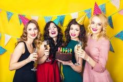Portret van blije vrienden die en camera verjaardagspartij roosteren bekijken Glimlachende meisjes met glazen champagne Royalty-vrije Stock Foto