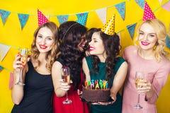 Portret van blije vrienden die en camera verjaardagspartij roosteren bekijken Glimlachende meisjes met glazen champagne Stock Afbeeldingen