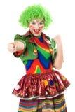Portret van blije vrouwelijke clown. Geïsoleerdw Royalty-vrije Stock Foto's