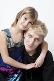 Portret van blonde broer en weinig zuster Stock Foto