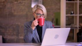 Portret van blonde kortharige onderneemster in glazen die aandachtig met laptop en het drinken koffie in bureau werken stock videobeelden