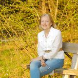 Portret van blonde vrouw stock foto's