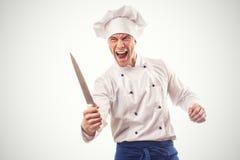 Portret van boze belangrijkste geïsoleerde kok Stock Foto