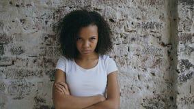 Portret van boze krullende gemengde rasvrouw die camera zenuwachtig op bakstenen muurachtergrond onderzoeken stock videobeelden