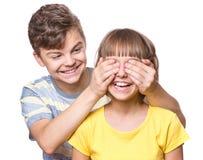 Portret van broer en zuster Stock Afbeelding