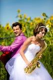 Portret van bruid en bruidegom Stock Foto's