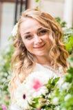 Portret van bruid in witte kleding royalty-vrije stock foto