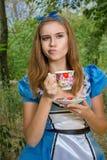 Portret van bruin-haired meisje stock foto's