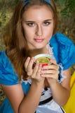 Portret van bruin-haired meisje royalty-vrije stock foto