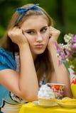 Portret van bruin-haired meisje royalty-vrije stock fotografie