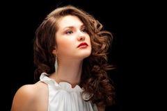 Portret van bruin-haired met mooi haar Stock Afbeelding