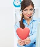 Portret van call centre glimlachende exploitant met telefoonhoofdtelefoon ISO Stock Fotografie