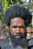 Portret van Dani Man Een mens met een baard van de Papuan-stam Dani stock foto's