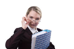 Portret van de bedrijfsvrouw met een omslag Stock Afbeeldingen