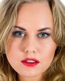 Portret van de blonde met blauw oog Stock Afbeelding