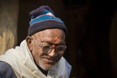 Portret van de Brahmaanmens, Nepal Stock Foto