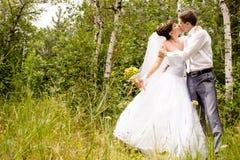 Portret van de bruid en de bruidegom Stock Foto's