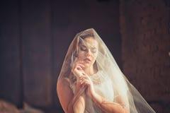 Portret van de bruid met een sluier Stock Foto's
