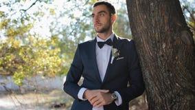 Portret van de bruidegom Jonge mens openlucht stock videobeelden