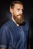 Portret van de brutale gebaarde mens met een snor royalty-vrije stock fotografie