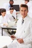 Portret van de Collega's van Technicusin laboratory with Stock Fotografie