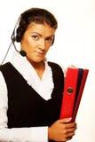 Portret van de dienstarbeider van de vrouwenklant, call centre die o glimlachen stock afbeeldingen