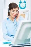 Portret van de dienstarbeider van de vrouwenklant, call centre het glimlachen Royalty-vrije Stock Afbeelding
