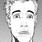 Portret van de droevige mens droefheid Verraste mens Conceptenidee van reclame en promo Illustratie van de pop-art retro stijl stock fotografie