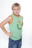 Portret van de elfjarenjongen. Glorie Stock Foto