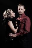 Portret van de ernstige mens en mooie vrouw Stock Foto
