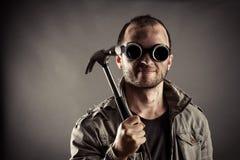 Portret van de gekke mijnwerker royalty-vrije stock afbeeldingen