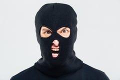 Portret van de gekke woedende mens in balaclava Royalty-vrije Stock Fotografie