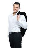 Portret van de gelukkige glimlachende bedrijfsmens, dat op wit wordt geïsoleerd Royalty-vrije Stock Afbeeldingen