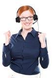 Portret van de gelukkige glimlachende vrolijke exploitant van de steuntelefoon Royalty-vrije Stock Fotografie