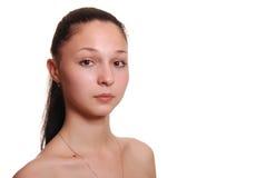 Portret van de gelukkige jonge vrouw, Stock Foto's