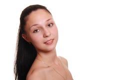 Portret van de gelukkige jonge vrouw, Royalty-vrije Stock Afbeelding