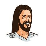 Portret van de gelukkige vectorillustratie van Jesus Christ Cartoon Royalty-vrije Stock Afbeeldingen