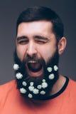 Portret van de gillende jonge gebaarde hipstermens met bloemen in zijn baard Royalty-vrije Stock Afbeelding