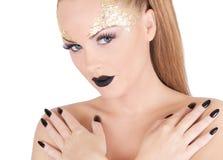 Portret van de glamour het mooie vrouw Royalty-vrije Stock Afbeeldingen