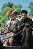 Portret van de glimlachende mens en vrouw in historische kostuums Royalty-vrije Stock Fotografie