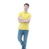 Portret van de jonge die mens op witte achtergrond wordt geïsoleerd Royalty-vrije Stock Afbeeldingen