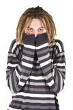 Portret van de jonge geïsoleerdew dreadlockmens stock afbeelding
