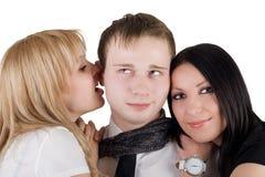 Portret van de jonge man en twee jonge vrouwen Stock Foto