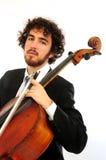Portret van de jonge mens met cello Stock Afbeelding