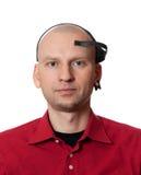 Portret van de jonge mens met EEG (elektro-encefalografie) hoofdtelefoon royalty-vrije stock fotografie