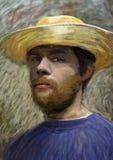 Portret van de jonge mens met strohoed stock foto's